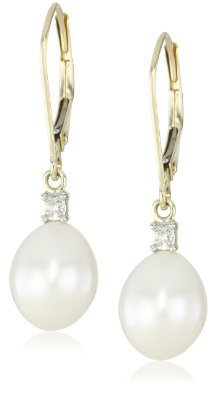 Gold Freshwater Cultured Pearl and Diamond Drop Earrings - 12RR15