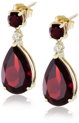 Yellow Gold, Garnet, and Diamond Drop Earrings - 12RR16