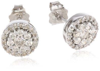 White Gold Round Diamond Cluster Earrings - 12RR17