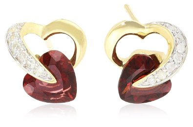 Gold Heart and Diamond Earrings - 12RR18