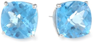 Blue Topaz Checkerboard Cushion Stud Earrings - 12RR20