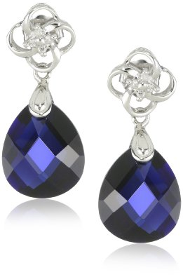 Blue Sapphire and Diamond Dangle Earrings - 12RR21