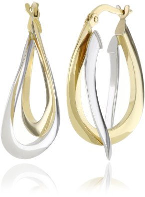 Two-Tone Double Crossover Hoop Earrings - 12RR24