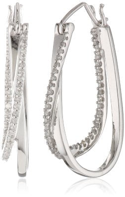 White Gold and Diamond Hoop Earrings - 12RR25