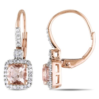Rose Gold Morganite and Diamond Leverback Earrings - 12RR29