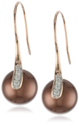 Rose Gold Diamond and Tahitian Cultured Pearl Charm Earrings - 12RR34