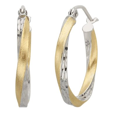 Yellow Gold Satin Polished Diamond Cut Twist Hoop Earrings - 12RR35