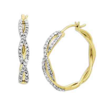 Diamond Twist Design Hoop Earrings - 12RR37