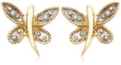 Gold Dragonfly Diamond Earrings - 12RR38