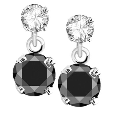 Gold Black and White Diamond Dangle Earrings  - 12RR41