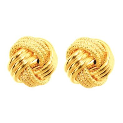 14k 12mm Yellow Gold Large Love Knot Earring -12RR51