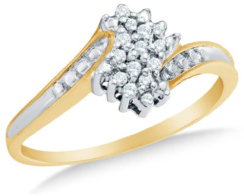 Yellow OR White Gold Ladies  Round Diamond Cluster Ring
