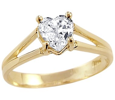 Yellow Gold Heart Ladies Engagement Ring