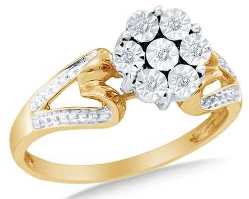 Gold Ladies Diamond Wedding Flower Ring