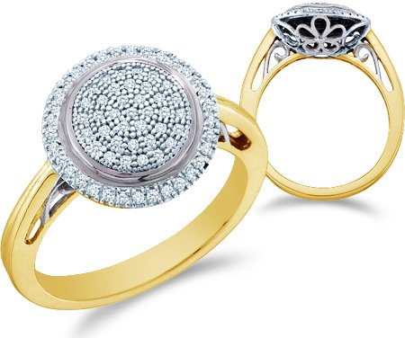 Yellow OR White Gold Round Shape  Diamond Engagement Ring
