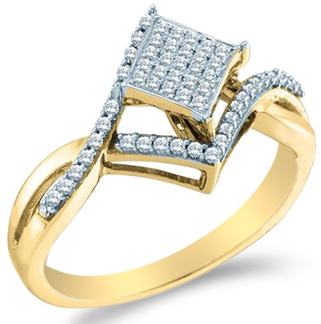 Yellow Gold Princess Shape Diamond Engagement Ring