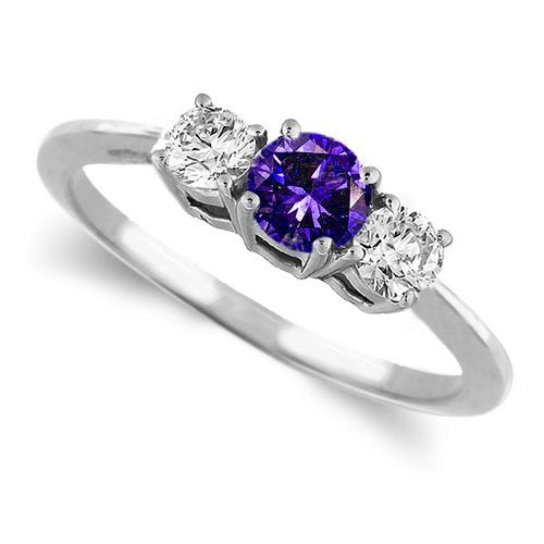 White Gold Round 3 Stone Tanzanite & Diamond Ring