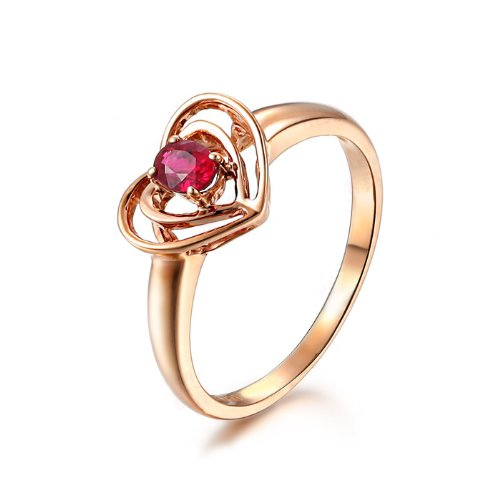 Natural Red Ruby, Rose Gold Engagement Ring