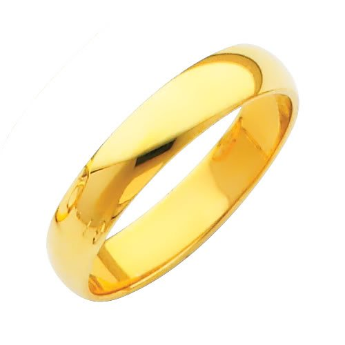 Yellow Gold 4mm Plain Wedding Band Ring for Men & Women