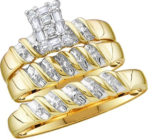 10k Yellow Gold Round Diamond Men & Ladies Trio Set