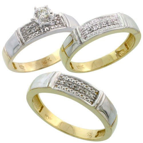 10k Gold 3-Piece Trio His (5mm) & Hers (4.5mm) Diamond Wedding Band Set