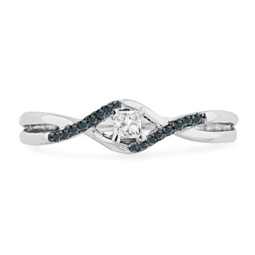 10KT White Gold Blue And White Diamond Engagement Ring