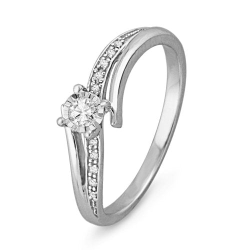 10Kt White Gold Round Diamond Bypass Engagement Ring