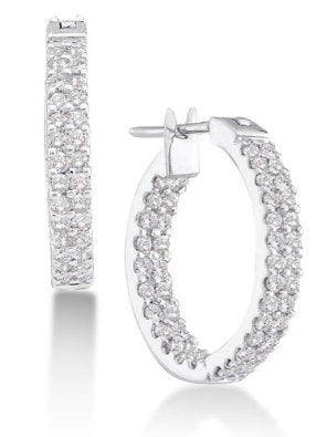 10K White Gold Large Channel Set Round Diamond Hoop Earrings with Hinge Closure - 13RR01