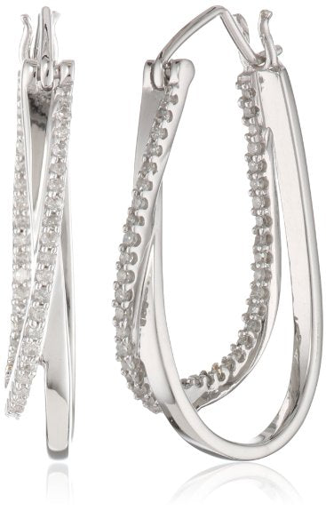 10k White Gold and Diamond Hoop Earrings - 13RR23