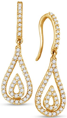 10K Yellow Gold Round Brilliant Cut Diamond Dangle Earrings - 13RR38