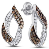 0K White Gold Round Brilliant Cut Chocolate Brown and White Diamond Earringa - 13RR39