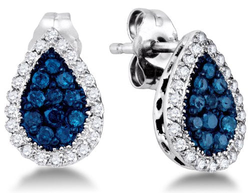 10K White Gold Round Brilliant Cut Blue and White Diamond Studs Earrings - 13RR40