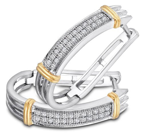10K White and Yellow Two Tone Gold Micro Pave Set Round Diamond Hoop Earrings - 13RR41