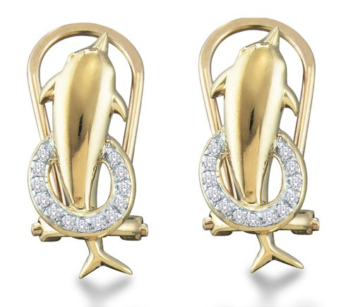 10K Yellow and White Two Tone Gold Channel Set Round Diamond Dolphin Hoop Earrings - 13RR44