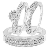 Round Cut Diamond Three Ring Matching Wedding Ring Set - 14GG03