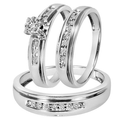 Round Cut Diamond Trio Matching Wedding Ring Set - 14GG05