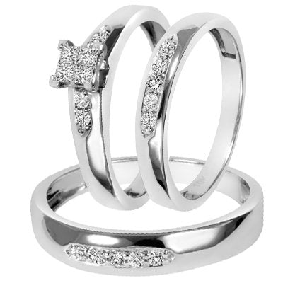 Diamond Trio Matching Wedding Ring Set - 14GG06