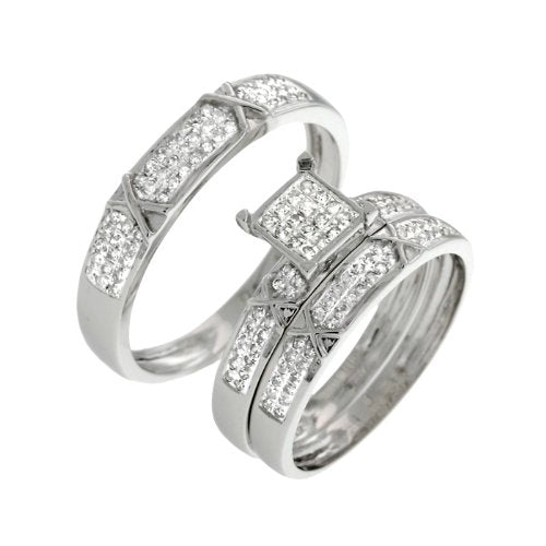 0.55 CT Brilliant Diamond Wedding Trio Set - 14GG15