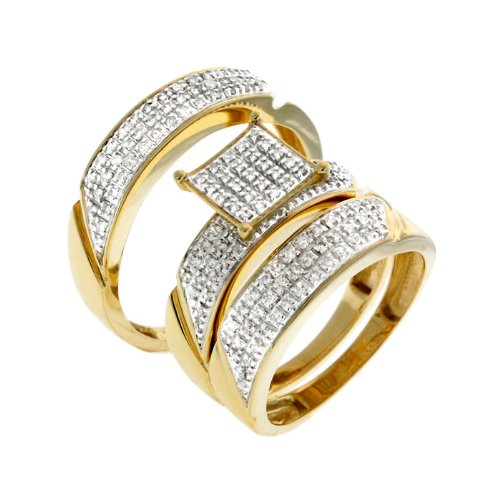 0.50 CT Brilliant Diamond Wedding Trio Set - 14GG20
