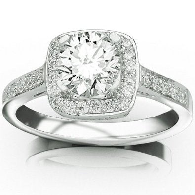 0.53 Carat Halo Single Row Pave Set Diamond Engaement Ring - 15GG31