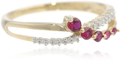 10k Yellow Gold Ruby and Diamond Engagement Ring - 16GG07