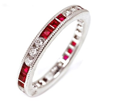 18k White Gold Natural Ruby & Diamond Eternity Ring - 16GG05