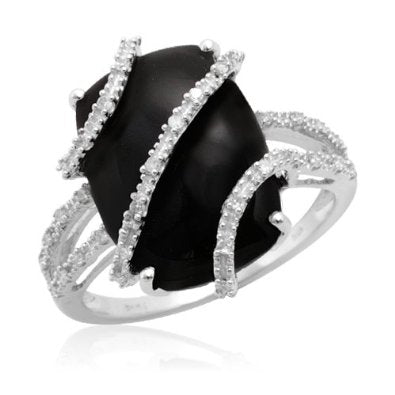 White Gold Onyx Center with Diamond Wrap Ring - 16GG09