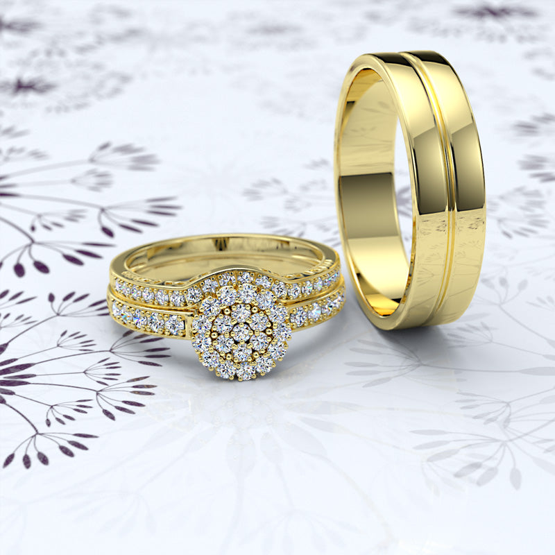 Gold Complete Trio Wedding Set - 16GG34