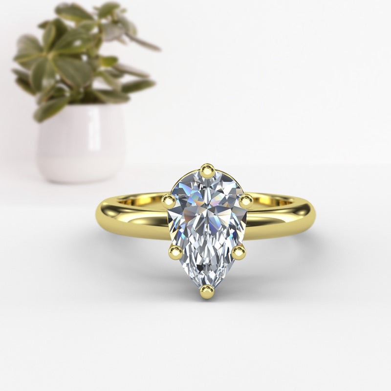 Pear Shape Solitaire Gold Engagement Ring - 16GG47