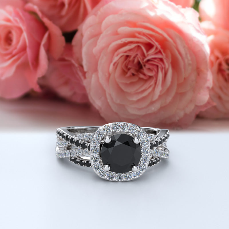 Black Onyx with Diamond Gold Engagement Ring - 16GG60