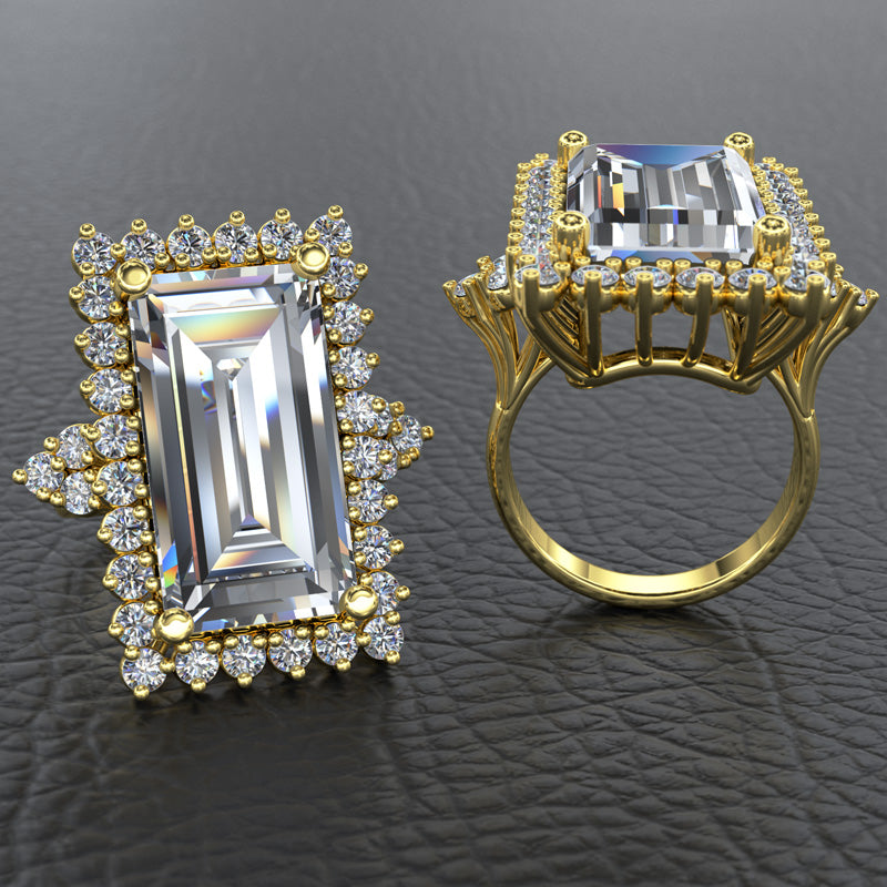 Baguette Gold Engagement Ring - 16GG82