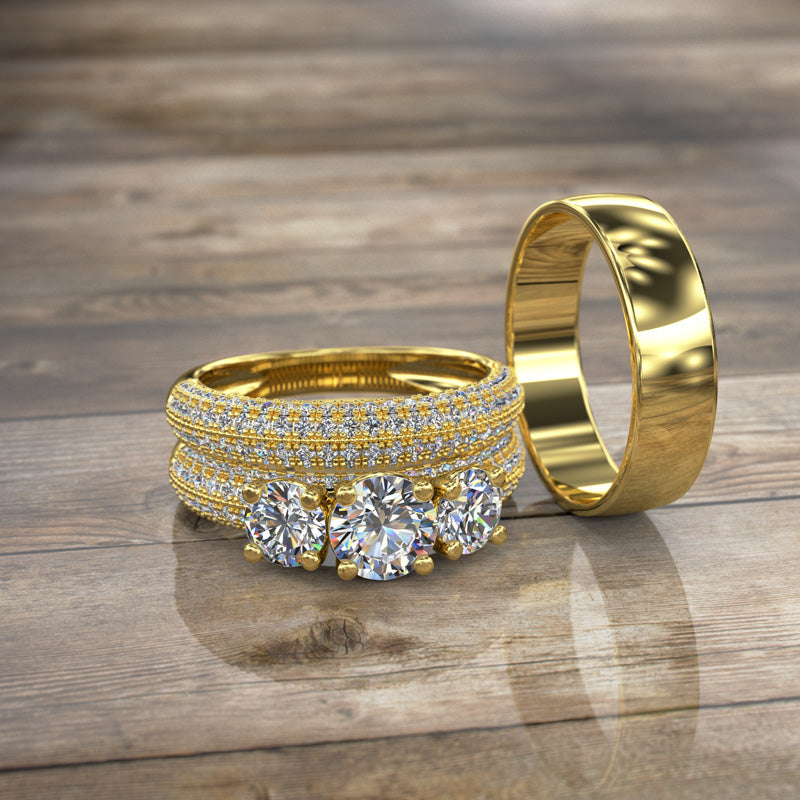 Three Stone Gold Complete Wedding Set - 16GG85