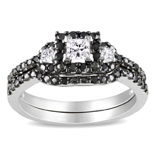 10k White Gold Black and White Diamond Bridal Set  - 17GG49