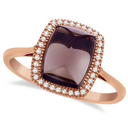 Octagon Shaped Cabochon Smoky Topaz and Diamond G-H/SI Cocktail Ring - 17GG04
